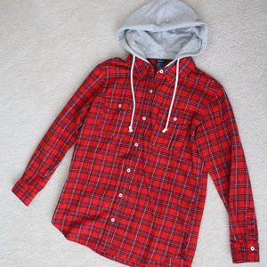 Red Flannel Plaid Button Up with detachable Hoodie